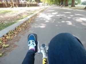 Desde una bicicleta reclinada, en el otoño de Londres
